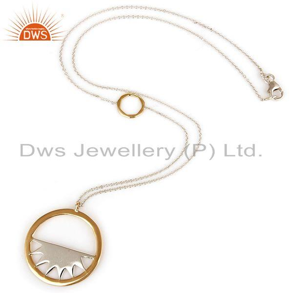 Exporter 18K Yellow Gold And Sterling Silver Handmade Half Moon Pendant With 16