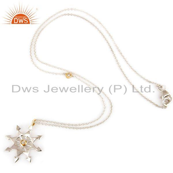Exporter 18K Yellow Gold And Sterling Silver Natural Diamond Star Pendant Necklace