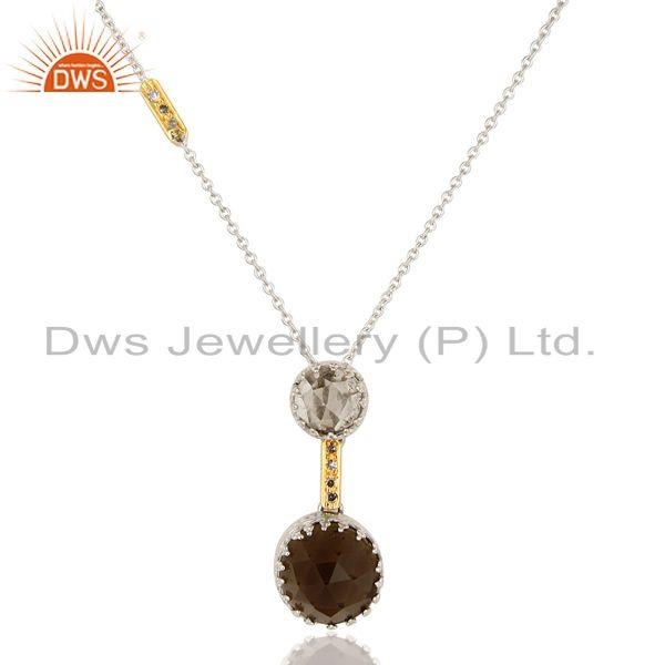 Exporter 18K Yellow Gold Smoky Quartz And Natural Diamond Pendant With Chain