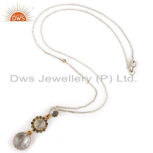 Exporter 18K Yellow Gold And Sterling Silver Crystal Quartz And Diamonds Pendant Chain