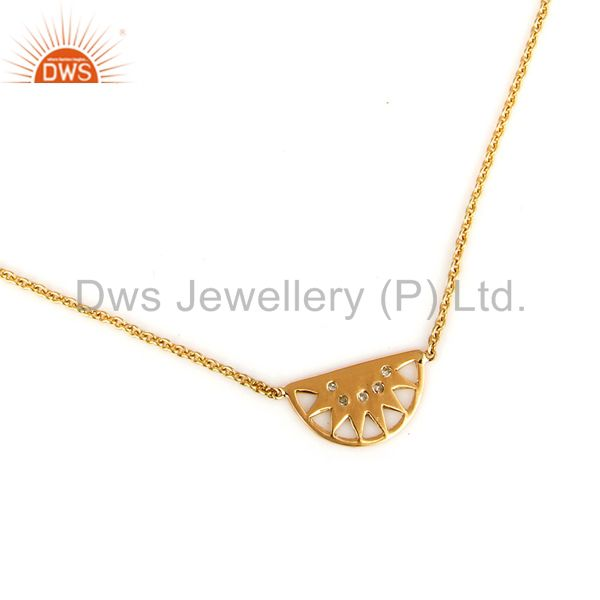 Exporter 18K Yellow Gold Natural Diamond Half Moon Pendant Necklace With Lobster Lock