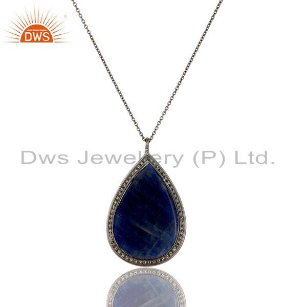 Exporter 14K Solid Yellow Gold Pave Diamond And Blue Sapphire Drop Pendant With Chain