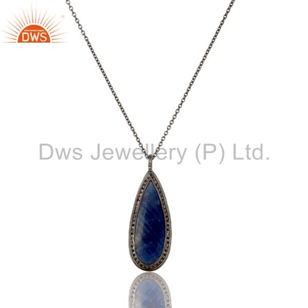 Exporter 14K Solid Yellow Gold Blue Sapphire And Diamond Accented Drop Pendant With Chain
