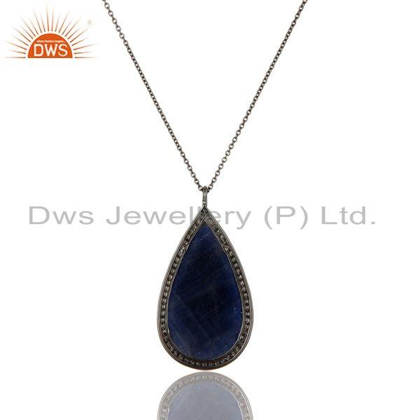 Exporter 14K Solid Yellow Gold Blue Sapphire And Diamond Accented Pendant With Chain