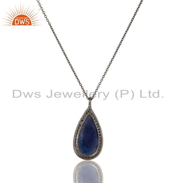 Exporter Genuine 14k Yellow Gold Blue Sapphire And Pave Diamond Pendant Necklace
