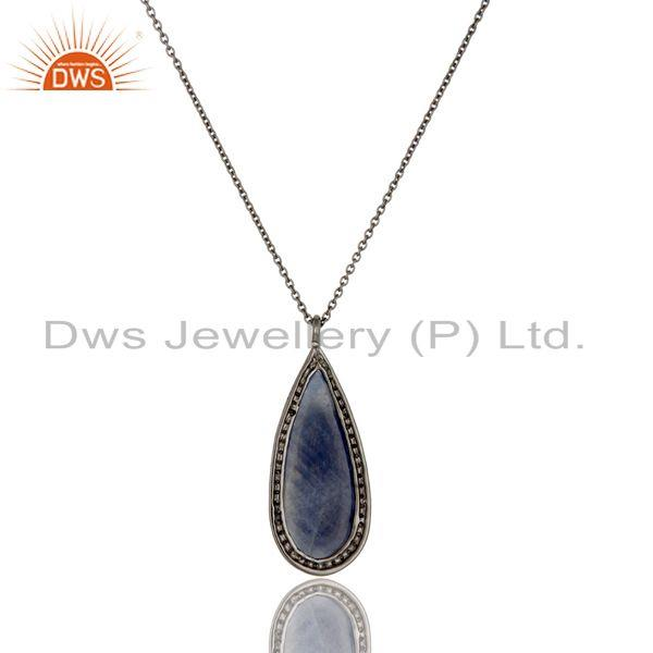 Exporter Solid 14k Yellow Gold Blue Sapphire And Pave Diamond Pendant Necklace