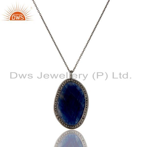 Exporter Natural Blue Sapphire And Pave Diamond Pendant Necklace In 14K Yellow Gold
