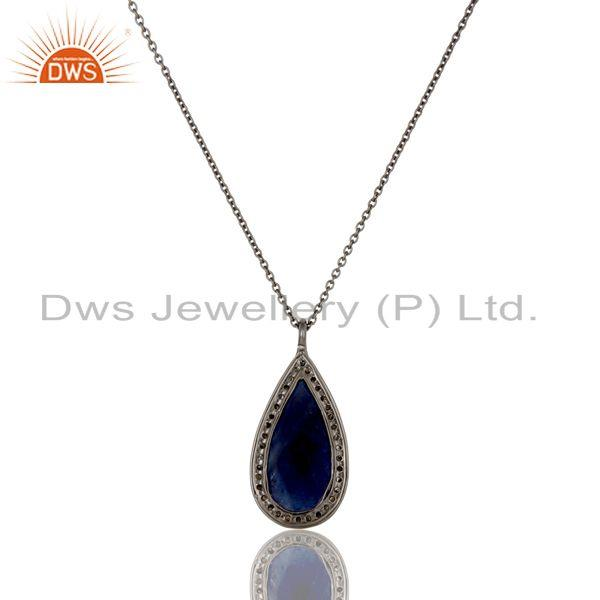 Exporter Blue Sapphire And Pave Set Diamond 14K Solid Yellow Gold Pendant Necklace