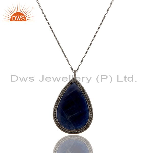 Exporter Blue Sapphire And Pave Diamond 14K Solid Yellow Gold Pendant Chain Necklace