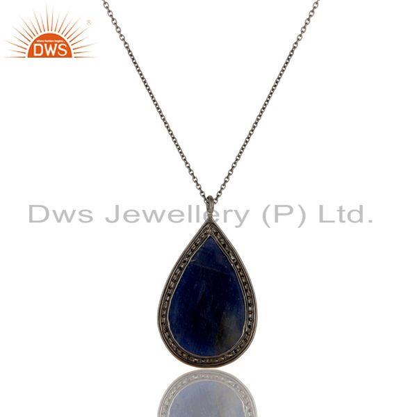 Exporter 14K Solid Yellow Gold Pave Diamond And Blue Sapphire Teardrop Pendant Necklace