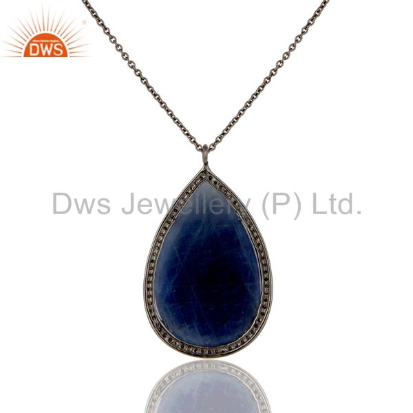 Exporter 14K Yellow Gold Pave Diamond And Blue Sapphire Silver Pendant