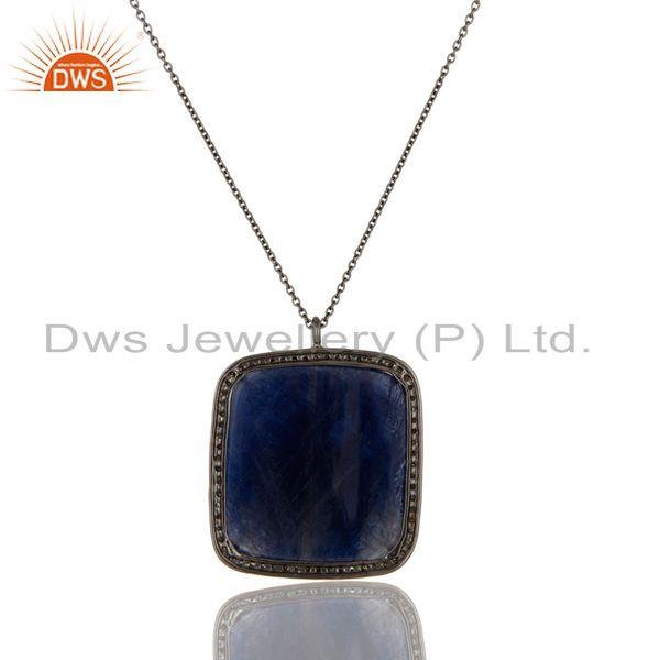 Exporter 14K Yellow Gold Pave Diamond And Blue Sapphire Silver Pendant Necklace