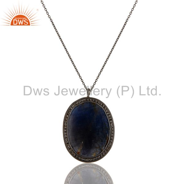 Exporter 14K Yellow Gold Pave Diamond And Blue Sapphire Sterling Silver Pendant Necklace