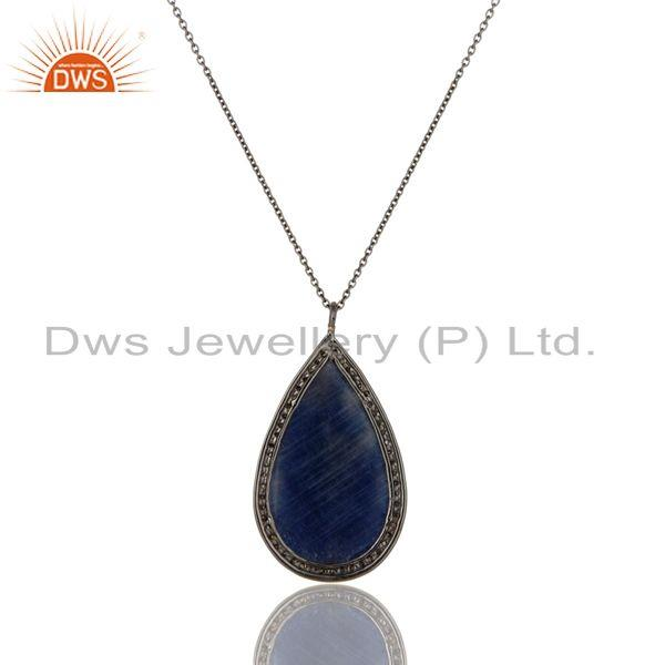 Exporter 14K Yellow Gold Pave Set Diamond Blue Sapphire Sterling Silver Pendant Necklace
