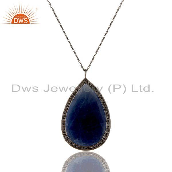 Exporter 14K Yellow Gold Blue Sapphire Sterling Silver Pave Set Diamond Pendant Necklace
