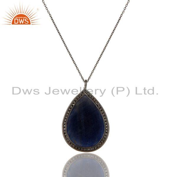 Exporter 14K Yellow Gold Sterling Silver Blue Sapphire Pave Set Diamond Pendant Necklace