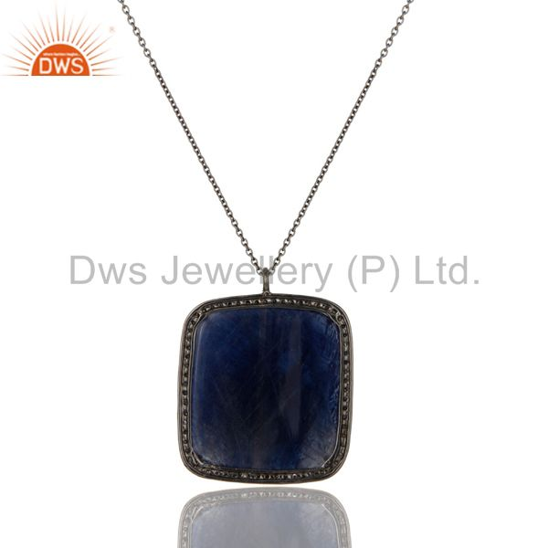 Exporter Faceted Blue Sapphire And Pave Diamond 14K Yellow Gold Silver Pendant Necklace