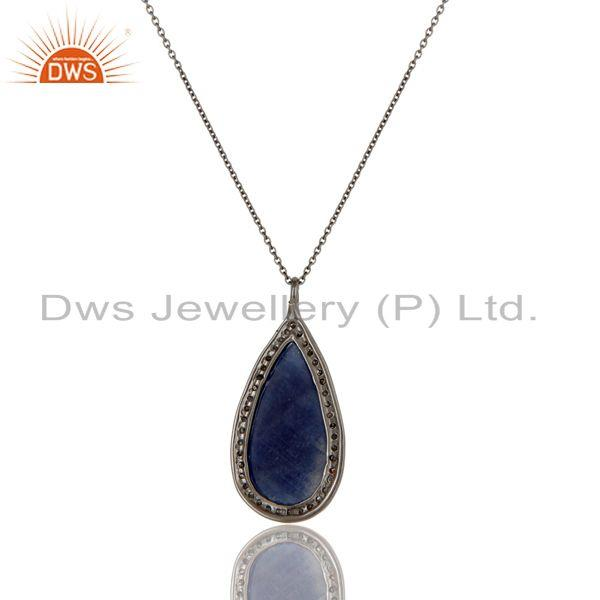Exporter 14K Solid Yellow Gold Silver Blue Sapphire And Pave Diamond Pendant Necklace