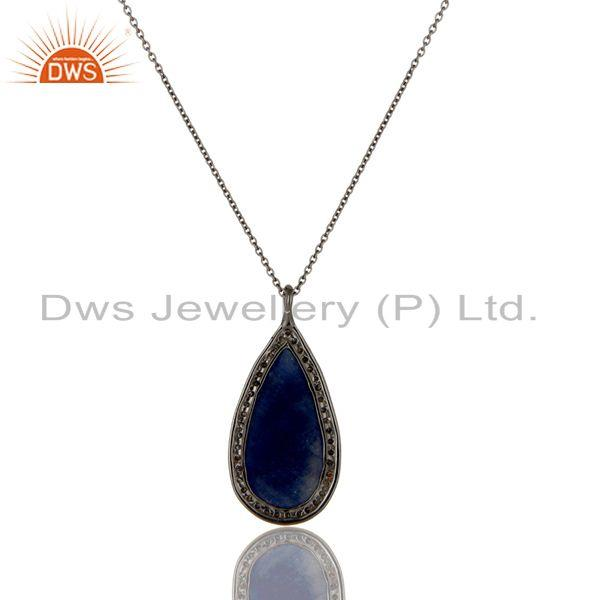 Exporter Blue Sapphire And Pave Diamond Solid 14K Yellow Gold Silver Pendant Necklace