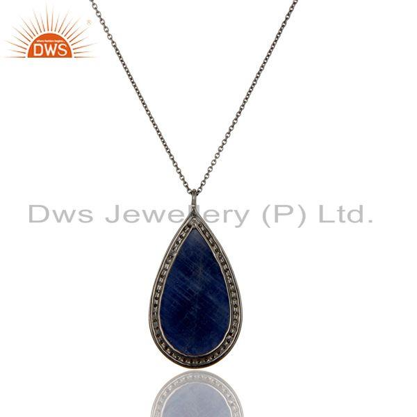 Exporter 14K Solid Yellow Gold Pave Diamond And Blue Sapphire Silver Pendant With Chain