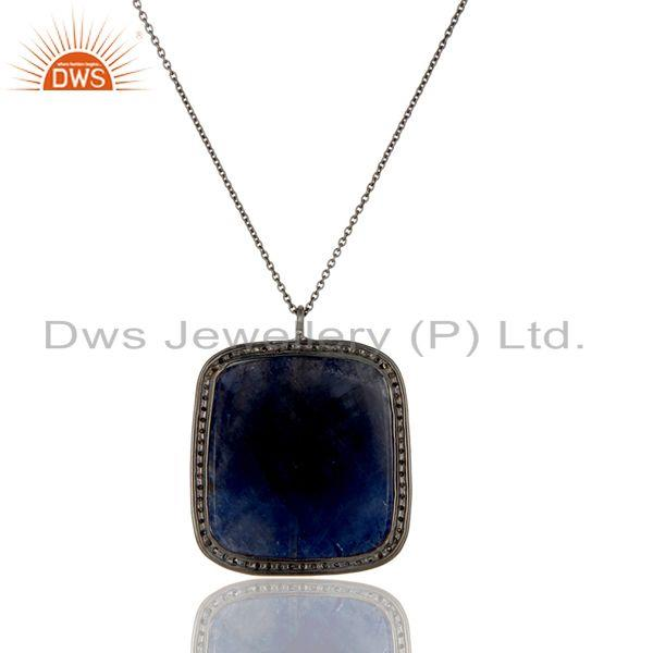 Exporter 14K Solid Yellow Gold Pave Diamond And Blue Sapphire Pendant With Chain