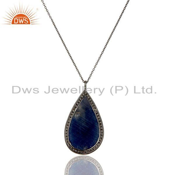 Exporter Solid 14K Yellow Gold Pave Diamond And Blue Sapphire Drop Pendant With Chain