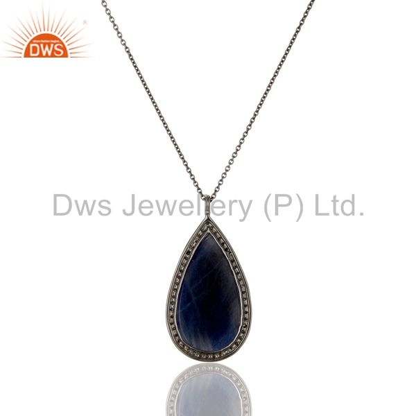 Exporter 14K Yellow Gold Pave Diamond And Blue Sapphire Drop Pendant With Chain