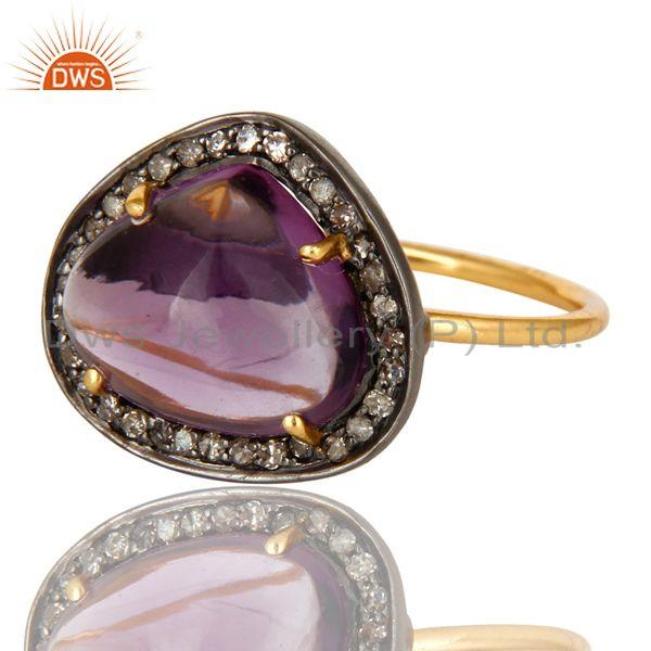 Exporter 14K Solid Yellow Gold Amethyst And Pave Set Diamond Cocktail Stacking Ring