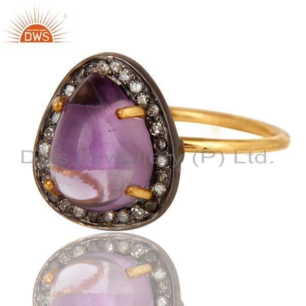Exporter Natural Amethyst And Pave Diamond 14K Yellow Gold Stacking Ring