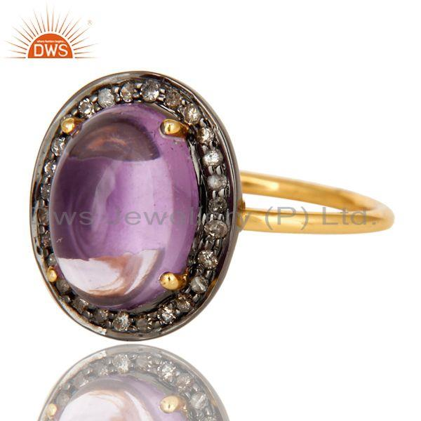 Exporter Natural Amethyst And Pave Set Diamond 14K Yellow Gold Statement Stack Ring