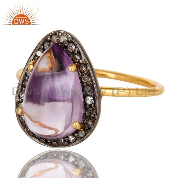 Exporter Natural Amethyst And Pave Set Diamond 14K Solid Yellow Gold Statement Ring
