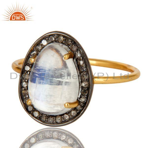 Exporter Rainbow Moonstone And Pave Set Diamond 14K Solid Yellow Gold Statement Ring