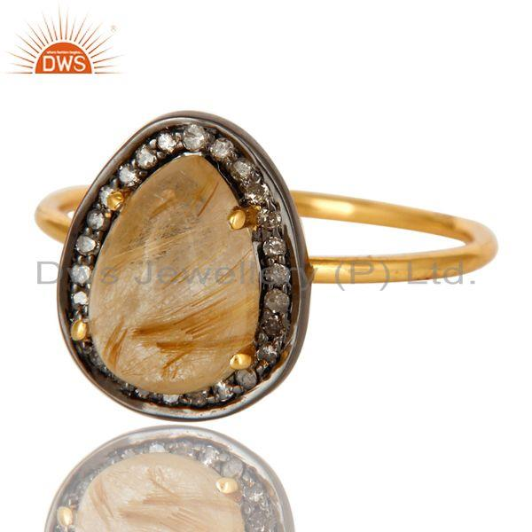 Exporter 14K Yellow Gold Golden Rutilated Quartz And Pave Diamond Stackable Ring