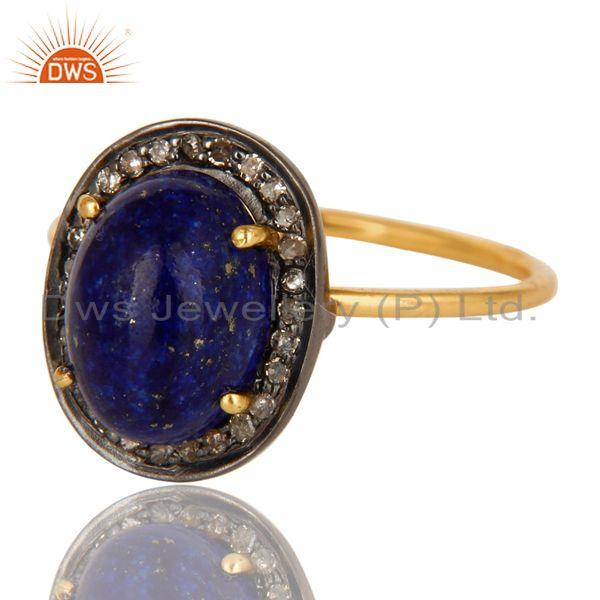 Exporter 14K Solid Yellow Gold Pave Set Diamond And Lapis Lazuli Gemstone Stackable Ring