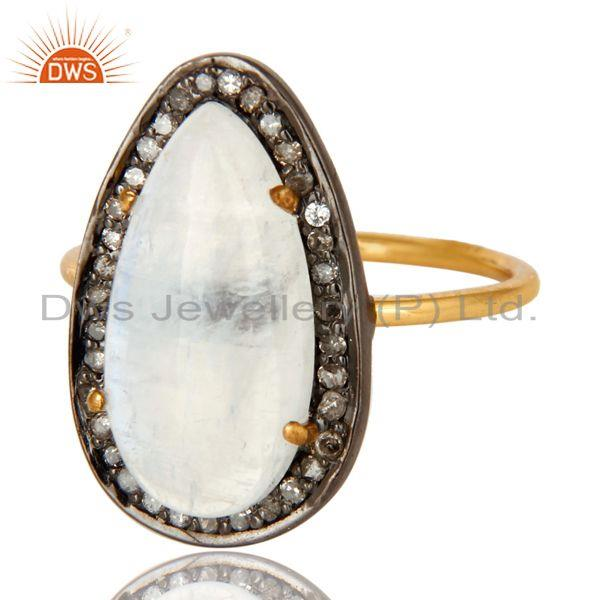 Exporter 14K Solid Yellow Gold Pave Set Diamond And Rainbow Moonstone Stackable Ring