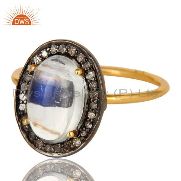 Exporter 14K Solid Yellow Gold Rainbow Moonstone And Pave Diamond Stackable Ring