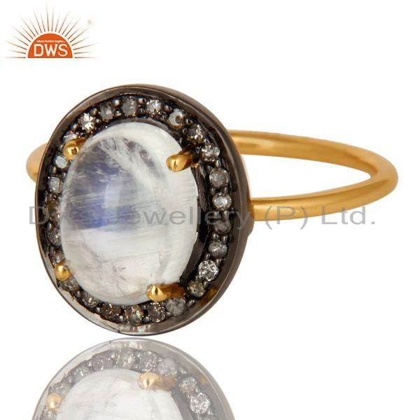 Exporter 14K Solid Yellow Gold Pave Diamond And Rainbow Moonstone Stackable Ring