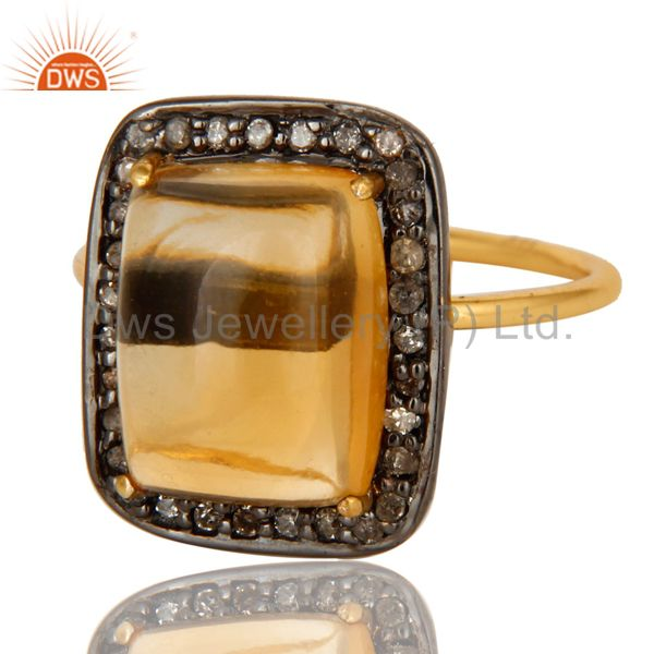 Exporter 14K Solid Yellow Gold Pave Set Diamond And Citrine Gemstone Stackable Ring