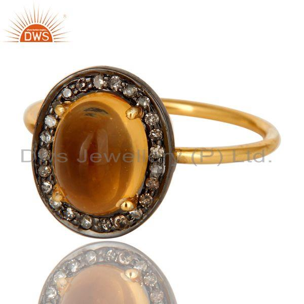 Exporter 14K Solid Yellow Gold Pave Diamond And Citrine Gemstone Stackable Ring