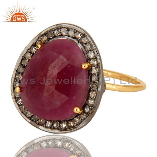 Exporter 14K Yellow Gold Pave Diamond And Natural Ruby Gemstone Stacking Ring