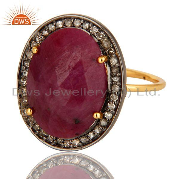Exporter Natural Ruby Gemstone Pave Set Diamond 14K Yellow Gold Stackable Ring