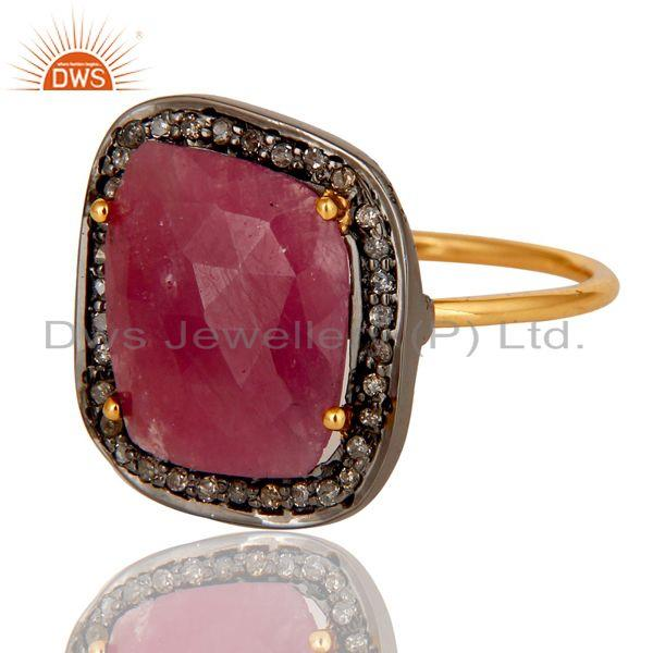 Exporter Pave Diamond and Natural Ruby Black and Yellow Gold Plated Sterling Silver Ring