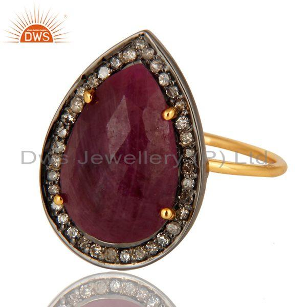 Exporter Natural Ruby Gemstone And Pave Diamond 14K Yellow Gold Stackable Ring