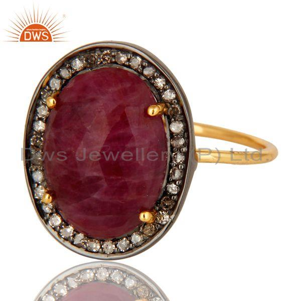 Exporter Natural Ruby Gemstone And Pave Diamond Stackable Ring In 14K Yellow Gold