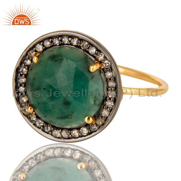 Exporter 14k Yellow Gold Pave-set Diamond Emerald Stacking Engagement or Cocktail Ring