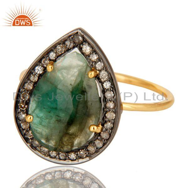 Exporter 14K Yellow Gold Pave Diamond And Emerald Gemstone Stacking Ring