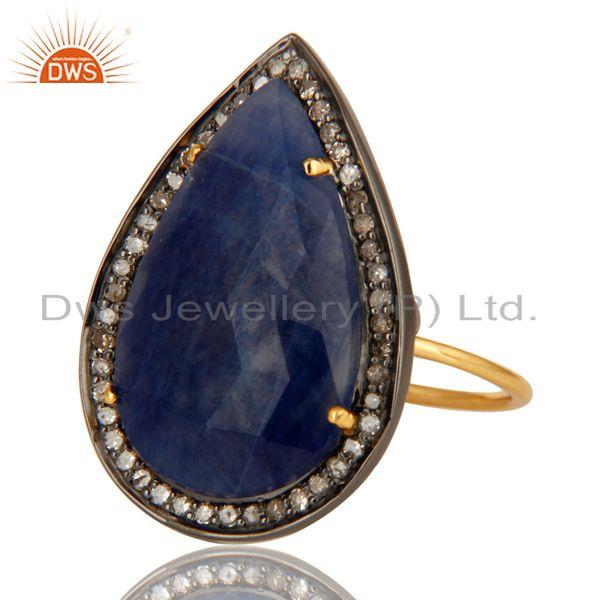 Exporter Natural Blue Sapphire Gemstone Pave Diamond 14K Yellow Gold Cocktail Ring