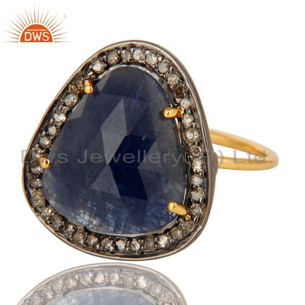 Exporter Prong Set Blue Sapphire 14K Yellow Gold Gemstone Stackable Ring With Diamond