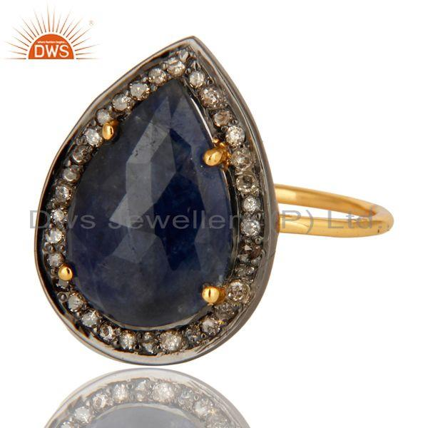 Exporter 14K Yellow Gold Pave Diamond And Natural Blue Sapphire September Birthstone Ring