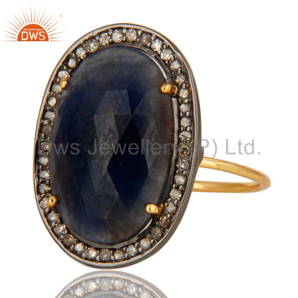 Exporter 14K Yellow Gold Natural Oval Blue Sapphire Cocktail Engagement Ring With Diamond